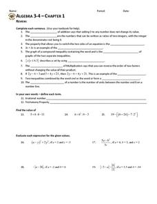 Algebra 3-4 Chapter 1 Review Worksheet