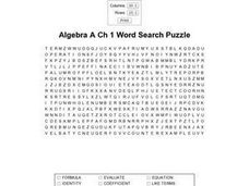algebra a ch1 word search puzzle 6th 7th grade worksheet lesson planet. Black Bedroom Furniture Sets. Home Design Ideas