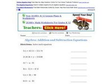 Algebra: Addition and Subtraction Equations 2 Worksheet