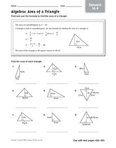 Algebra: Area of a Triangle - Reteach 16.4 5th - 6th Grade Worksheet ...