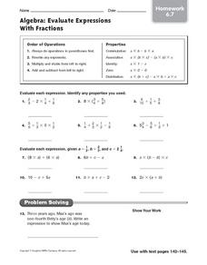Algebra: Evaluate Expressions with Fractions Worksheet