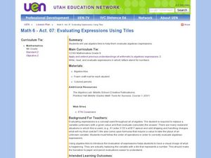 Algebra: Evaluating Expressions Using Tiles Lesson Plan