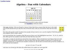 Algebra - Fun with Calendars - Activity Lesson Plan