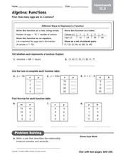 Algebra: Functions - Homework Worksheet