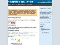 Algebra I: Multiplying Polynomials and Factoring Lesson Plan
