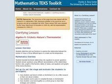 Algebra II: Crickets-Nature's Thermometer Lesson Plan