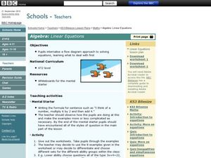 Algebra: Linear Equations Lesson Plan