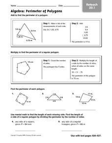 Algebra: Perimeter of Polygons: Reteach Worksheet