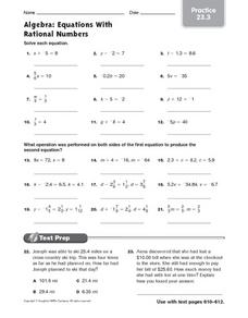Algebra Practice: Equations With Rational Numbers Worksheet