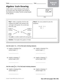Algebra: Scale Drawing (Reteach) Worksheet