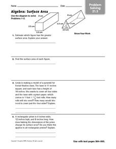 Algebra: Surface Area problem solving 21.5 Worksheet