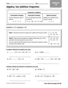 Algebra: Use Addition Properties: Reteach Worksheet