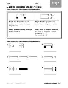Algebra: Variables and Expressions: Reteach Worksheet