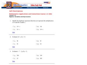 Algebra: Variables and Expressions Worksheet