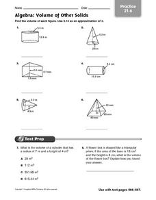 Algebra: Volume of Other Solids practice 21.6 Worksheet