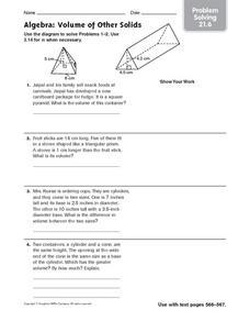 algebra volume of other solids problem solving 21 6 6th 8th grade worksheet lesson planet. Black Bedroom Furniture Sets. Home Design Ideas