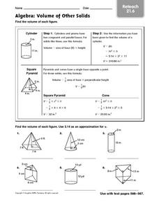 Algebra: Volume of Other Solids reteach 21.6 Worksheet