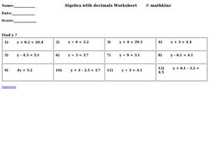 Algebra With Decimals Worksheet
