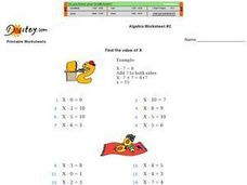 Algebra Worksheet #2 Worksheet