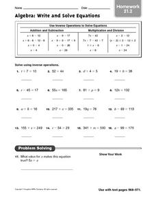 Algebra: Write and Solve Equations: Homework Worksheet