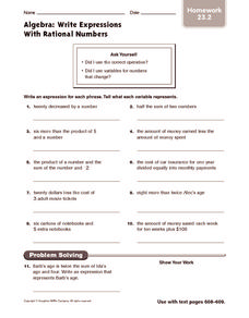 Algebra: Write Expressions with Rational Numbers: Homework Worksheet