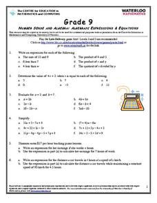 Algebraic Expressions & Equations Worksheet