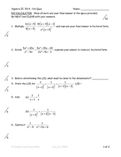 Algebraic Fractions Worksheet