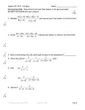 math worksheet : algebraic fractions 9th grade worksheet  lesson pla  : Algebraic Fractions Worksheets