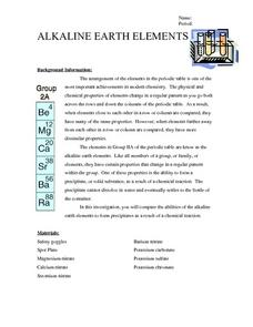 Alkaline Earth Elements Worksheet