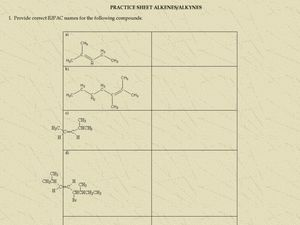 Alkenes and Alkynes Worksheet