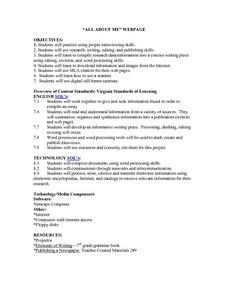 """All About Me"" Webpage Lesson Plan"
