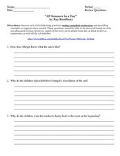"""All Summer in a Day"""" by Ray Bradbury 6th - 9th Grade Worksheet ..."""