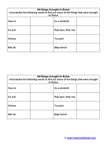 All Things Brought to Rome Worksheet