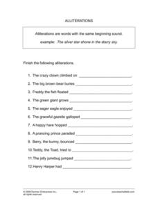 Alliterations Worksheet