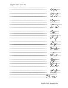 Alphabet Cursive Practice Worksheet Worksheet