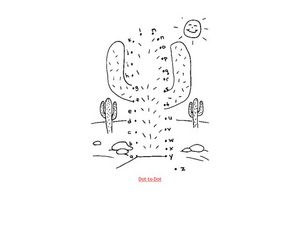 Alphabet Dot to Dot: Cactus Worksheet