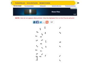 Alphabet Dot to Dot: Letters M and m Worksheet