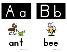Alphabet Picture Cards for Letters Aa and Bb Worksheet