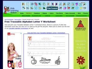 Alphabet Worksheet: Printing the Letter Y Worksheet