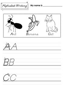 Alphabet Writing, A, B, C (D'Nealian) Worksheet