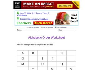 Alphabetic Order Worksheet Worksheet