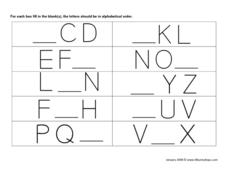 Alphabetical Order Fill in the Blank #7 Worksheet