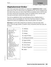 Alphabetical Order: Glossary Worksheet