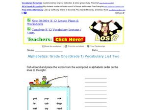 Alphabetize: Grade One Vocabulary List Two Worksheet