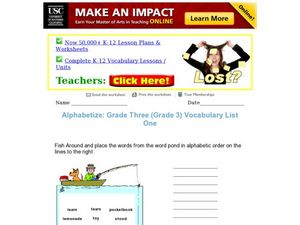 Alphabetize: Grade Three Vocabulary List One Worksheet