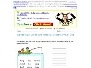 Alphabetize: Grade Two Vocabulary List One Worksheet
