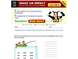Alphabetize: Vocabulary List Worksheet