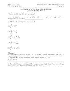 Alternating Series and Convergence Tests Worksheet