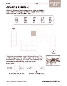 Amazing Decimals: Enrichment Worksheet