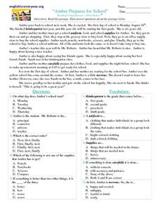 """Amber Prepared for School"" Reading Comprehension-Short Stories Worksheet"